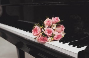 Beautiful bouquet of flowers on the piano